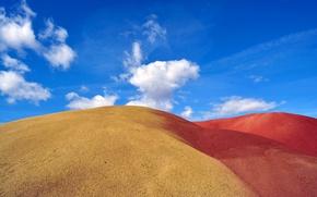 Картинка песок, небо, облака, бархан