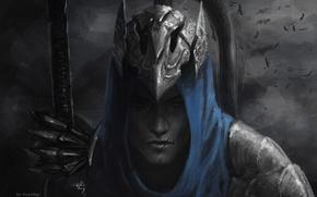 Картинка синий, шлем, парень, шрам, доспех, монохромное, ARTORIOUS