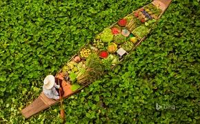 Картинка листья, вода, лодка, Таиланд, фрукты, Бангкок, овощи, плавучий рынок