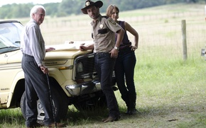 Картинка актеры, The Walking Dead, Andrew Lincoln, Lauren Cohan, Scott Wilson
