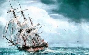 Картинка море, корабль, парусник, картина, живопись, painting