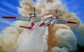 Картинка лес, небо, пожар, рисунок, арт, самолёт, российский, тушение, пожарный, сброс специальной жидкости, АН-32П