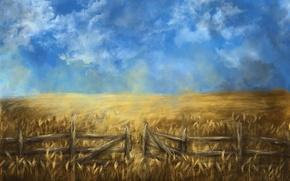 Картинка пшеница, поле, лето, облака, забор, арт, колосья