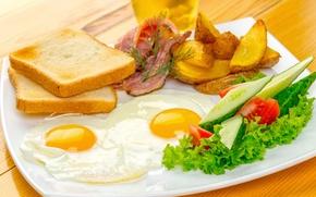 Картинка хлеб, яичница, овощи, помидоры, бекон, салат, тосты, egg, tomato, bacon, Vegetables, Bread, Potato