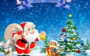 Картинка елка, заяц, обезьяна, Рождество, Новый год, Санта Клаус, Christmas, snow, New Year, Santa Claus, Monkey, …
