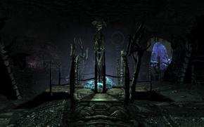 Картинка игры, скелет, пещера, skyrim, скайрим, dawnguard