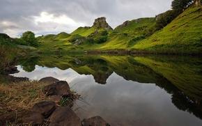 Картинка тучи, озеро, отражение, холмы