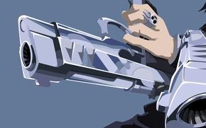 Картинка wallpaper, skull, gun, blood, pistol, weapon, style, anime, power, short hair, boy, ring, fang, hero, …