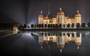 Картинка ночь, огни, отражение, замок, Германия, Морицбург
