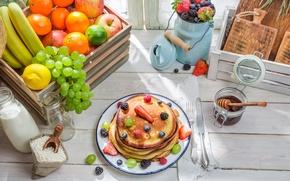Обои ягоды, фрукты, блины, выпечка, fruit, berries, breakfast, pancakes