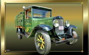 Картинка грузовик, рамка, старый, винтаж, раритет