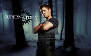 Картинка car, Chevrolet, forest, Supernatural, Jensen Ackles, man, limbo, symbol, good, Dean, Dean Winchester, Impala, pose, ...