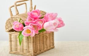 Картинка корзина, тюльпаны, pink, flowers, tulips, bouquet, basket