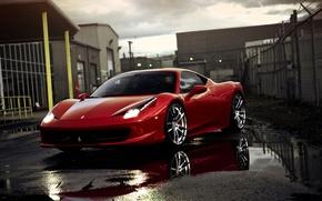 Обои отражение, лужи, red, supercar, феррари, ferrari 458 italia