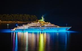 Картинка вода, ночь, берег, корабль, роскошь, круизный лайнер