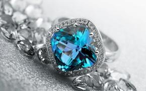 Картинка голубой, кольцо, украшение, топаз