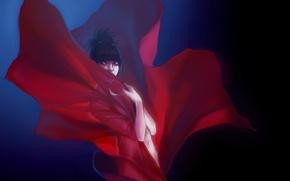 Картинка Девушка, красная ткань, красный цветок, персонификация