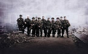 Картинка Война, Руины, Солдаты, Оружие, Сериал, Мужчины, Band of Brothers, Братья по оружию