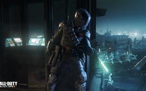 Картинка ночь, пушки, мехи, Call of Duty: Black Ops 3, герой солдат