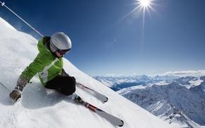 Обои небо, снег, пейзаж, горы, спуск, лыжник