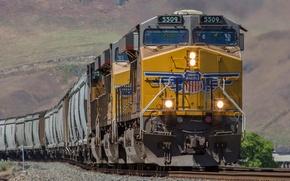 Картинка рельсы, поезд, вагоны, железная дорога, локомотив