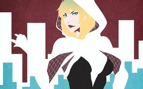 Картинка девушка, лицо, spider, арт, блондинка, костюм, comics, Spider-Woman, gwen stacy, Edge of Spider-Verse, Spider-Gwen