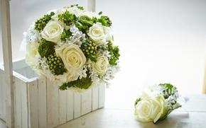Обои коробка, цветы, букет, розы, box, flowers