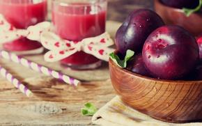 Картинка листья, вода, капли, яблоки, полотенце, сок, стаканы, миска, фрукты, трубочки