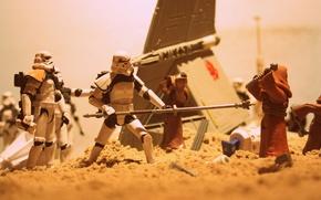 Обои космический корабль, Jawas, Sandtrooper, бластеры, Star Wars, песок, R2-D2