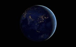 Обои огни, фото, Австралия, Земля, Азия, NASA