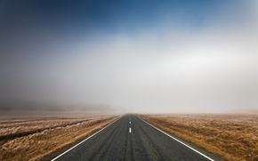 Картинка дорога, поле, небо, асфальт, пейзаж, природа, трасса, утро, road, sky, field, landscape, nature, morning, 2560x1600, ...