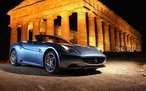 Обои ночь, Ferrari, руины, Сalifornia