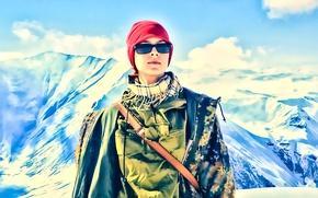 Картинка девушка, горы, рисунок, акварель, камуфляж
