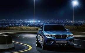 Картинка дорога, огни, голубой, бмв, BMW