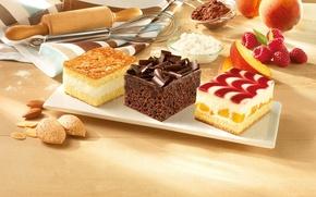 Картинка малина, шоколад, абрикос, десерт, выпечка, пирожные, миндаль, блюдо, какао, мука, творог, скалка, венчик