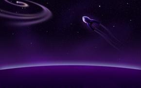 Обои звезды, планеты, космическиq кораблm, пурпурный