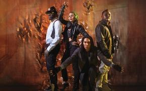 Картинка оранжевый, поза, Fergie, Black Eyed Peas, Apl.de.ap, Taboo, хип хоп, поп группа, Блэк Айд Пис, …