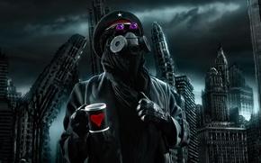 Картинка город, апокалипсис, разрушение, чашка, противогаз, капитан, конец, romantically apocalyptic, кэп, by alexiuss, wheres my flying ...