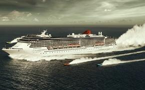 Обои гонки, лодки, Лайнер, море