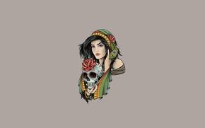 Картинка минимализм, цветы, перья, девушка, череп, светлый фон, роза