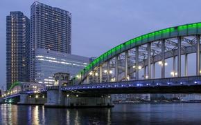 Обои небо, мост, огни, здания, вечер, Япония, освещение, подсветка, Токио, фонари, залив, Tokyo, Japan, зеленая, мегаполис, ...