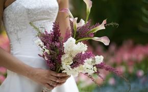 Картинка букет, невеста, сирень, Свадьба, каллы