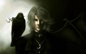 Картинка крыло, Парень, гетерохромия, разные глаза, ворон, роза