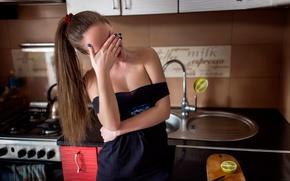 Картинка девушка, кухня, нож, лайм, Дмитрий Перерва, Tommy