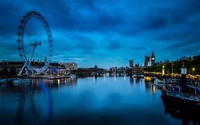 Картинка ночь, мост, огни, река, Лондон, дома, лодки, Великобритания, колесо обозрения, катера, Westminster