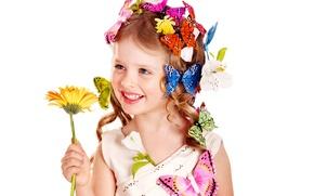 Картинка цветок, бабочки, цветы, подсолнух, Girl, блондинка, девочка, кудряшки, красивая, прелесть, причёска, голубые глаза, малышка, ребёнок, …