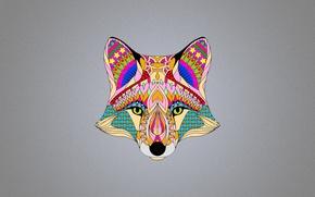 Картинка цвета, абстракция, фон, лиса, fox
