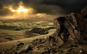 Картинка солнце, облака, деревья, камни, сопки