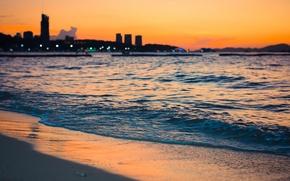 Картинка песок, море, пляж, небо, вода, закат, отдых, краски, остров, красиво, summer, таиланд, sea, sunset, sun, …