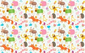 Обои животные, лисица, корова, овца, обезьяна, курица, олень, детский, червяк